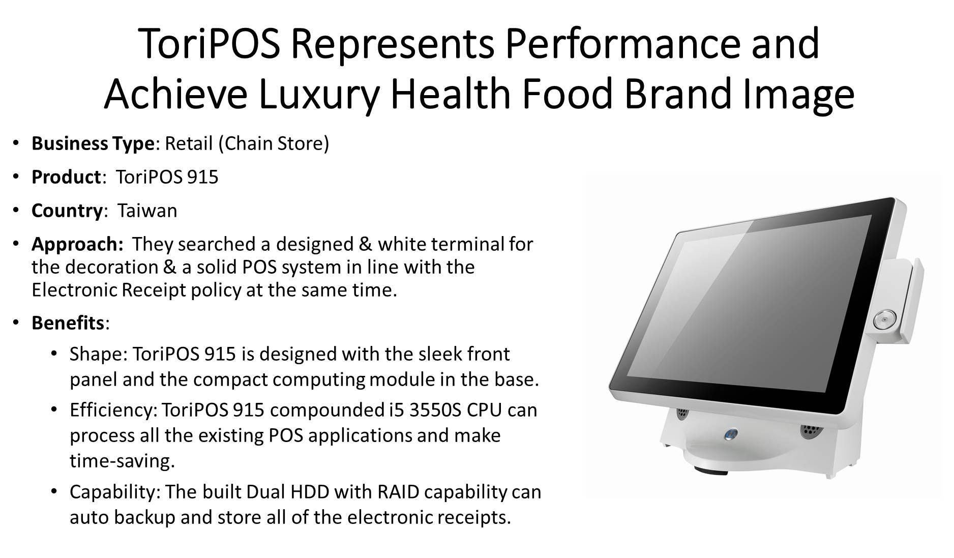 ToriPOS 915 in luxury health food retail